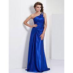 Sheath/ Column One Shoulder Floor-length Charmeuse Evening Dress – USD $ 178.19