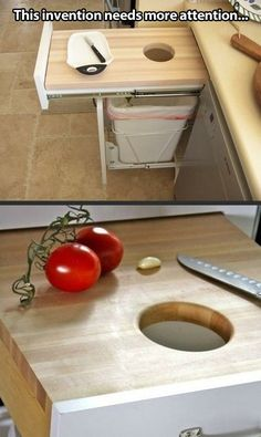 In case you don't want to carry scraps across the kitchen, here's a great idea used at restaurants, now employed in the home kitchen.| Now this saves time.