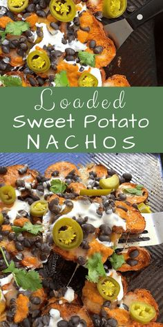 Loaded Sweet Potato Nachos: These addictive nachos are a little bit better for you than most. They're built on a bed of roasted sweet potatoes and embellished with fiber- and protein-rich black beans. Still, they're plenty delicious, with a generous helping of Cheddar, salsa, and pickled jalapenos. #sweetpotatoes #nachos #tacotuesday #loadednachos