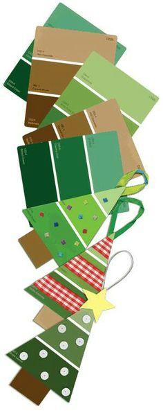 Gift wrap/tag ideas using paint sample cards. #christmas #gift #diy