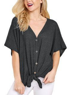 cea6abce3f6 Lovezesent Women Loose Knit Blouse Front Tie Knot V Neck Button Down Shirts  Top