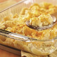 Makeover Cheddar Tot Casserole using low fat cheese, sour cream, etc...healthy recipe