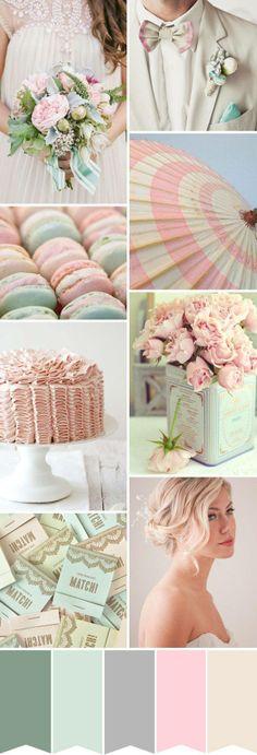 Pastel rose et vert