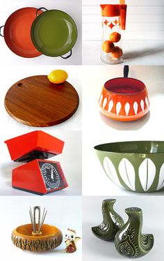 Fantasic #VintageKitchen Finds!  Retro Kitchen in Orange, Green and Wood by Katie Miller on Etsy--Pinned with TreasuryPin.com