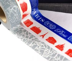 classic Paris-themed washi tape trio with monuments and subway map @mk derr