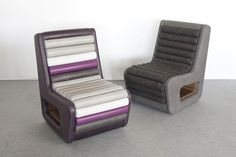 Stepping Up Chairs in felt and leather