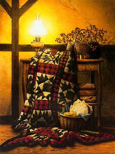 Doug Knutson's print GRANDMA'S QUILT takes us back to the days when sewing was an art and everything was done by hand under the lights of candles and lanterns. Available in two different unframed imag