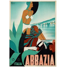 Original poster for Abbazia by M. Romoli, 1938. | From a unique collection of antique and modern posters at https://www.1stdibs.com/furniture/wall-decorations/posters/