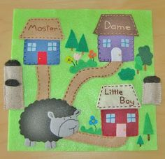 "Wow, a ""baa baa black sheep"" page.  Make the roofs to lift up and place the bag of wool inside the house."