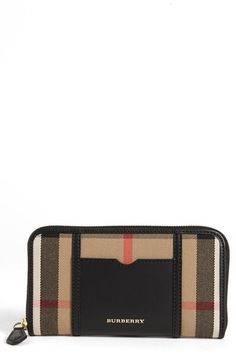 Burberry 'House Check - Large' Zip Around Wallet available at #Nordstrom