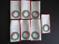 Seven Holiday Cocktail Napkins  7 Linen Christmas Napkins