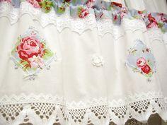 Shabby chic Vintage Rose Blau Landhaus Gardine 239