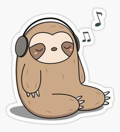 Music Drawings, Cute Cartoon Drawings, Cute Kawaii Drawings, Kawaii Art, Stickers Cool, Stickers Kawaii, Cute Baby Sloths, Cute Sloth, Chibi Manga