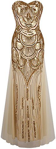 Angel-fashions Women's Sequin Strapless Sweetheart Mesh Lace up Banquet Dress