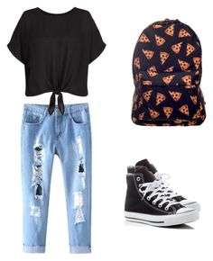 """⚡️⚡️"" by marynn-rlle on Polyvore featuring mode, New Look et Converse"