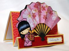 A Star For Chiemi - lovely asian card using Pagoda cartridge for fan. www.SisterStamps.com