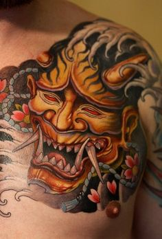 Japanese Demon Mask Tattoo On Shoulder | Fresh 2016 Tattoos Ideas