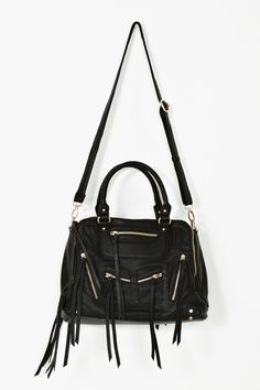NastyGal $85 Zipped Up Bag   Killer black vegan leather bag featuring zip pockets at front and back with long tassel detailing. Top handles and detachable/adjustable crossbody strap. Fully lined interior with zip pocket and cell phone compartments. Looks chic paired with all of your closet staples!