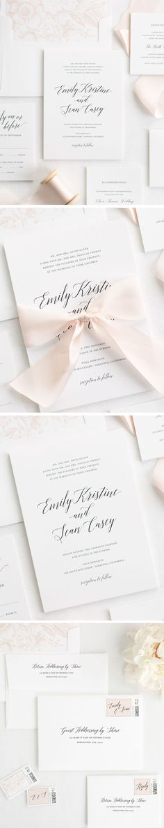 Let your wedding day shine with our romantic design, Garden Romance. This simple and classic wedding invitation mixes a romantic calligraphy font and simple block font to make subtle statement. This wedding invitation suite features a pretty blush pink floral envelope liner and pale pink custom dyed silk ribbon!