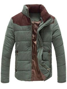 0440fee0c4a48 Color Block Zipper Snap Button Stand Collar Padded Coat For Men