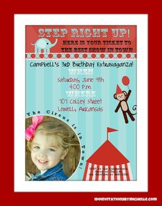 Vintage Carnival / Circus Birthday Party Invitation by CAMRYNJOLEE, $15.00