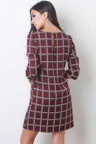 Checkered Houndstooth Shift Dress #UrbanOG