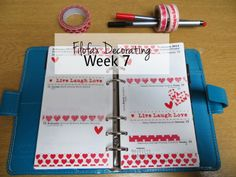 Filofax decorating week 7 at Poppy Sparkles - Romantic reds and hearts for Valentine's Day