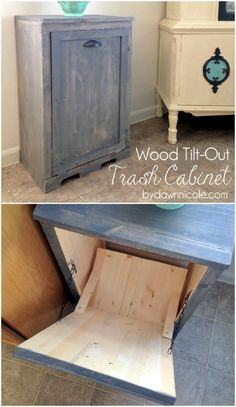 The best DIY projects & DIY ideas and tutorials: sewing, paper craft, DIY. DIY Furniture Plans & Tutorials : Tilt-out trash cabinet - 50 Decorative Rustic Storage Projects For a Beautifully Organized Home -Read Organizing Your Home, Home Organization, Rustic Furniture, Home Furniture, Kitchen Furniture, Furniture Projects, Furniture Design, Crate Furniture, Automotive Furniture
