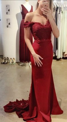 Elegant Mermaid Prom Dress,Off-The-Shoulder Burgundy Prom Dresses,Sweep#prom #promdress #dress #eveningdress #evening #fashion #love #shopping #art #dress #women #mermaid #SEXY #SexyGirl #PromDresses