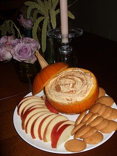 Pumpkin Dip! ~ can of pumpkin, vanilla pudding, cool whip, pumpkin pie spice ~ serve in a small pumpkin, garnish with a litte cinnamon, and serve with apple slices, vanilla wafers, ginger snaps, or cinnamon graham crackers