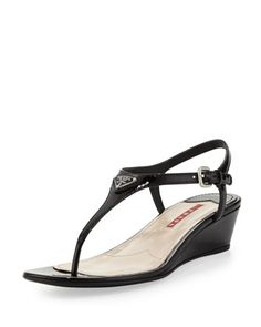 Patent+Leather+Thong+Demi-Wedge+Sandal,+Nero+by+Prada+at+Neiman+Marcus.