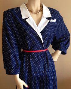 VINTAGE 40s 50s STYLE NAVY POLKA DOT WHITE COLLAR PLEATED TEA DRESS ROCKABILLY