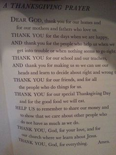 Thanksgiving Prayer from old 1964 book at grams house