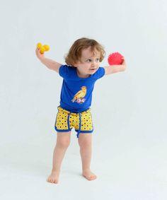 Baba Babywear blauwe t-shirt met kanariepietje. baba-babywear.nl.emilea.be