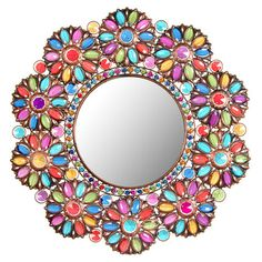 Wall mirror in a beaded floral frame.   Product: MirrorConstruction Material: Metal, resin and mirrored glass...