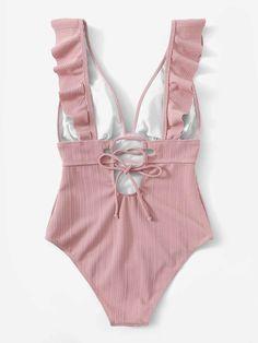 Plunge Neck Ruffle One Piece Swimsuit – Marvy Bae One Piece Bikini, One Piece Swimwear, Cute Swimsuits, Women Swimsuits, Style Club, Cute Bathing Suits, Bikinis, Beachwear, Ideias Fashion