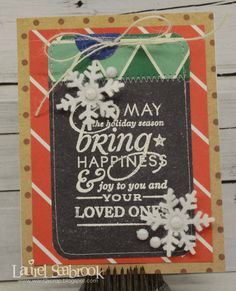 DIY Touch of Blue Christmas Cards. They're made with leftover scrapbooking materials! http://www.rewards4mom.com/8-touching-christmas-card-designs-diy/
