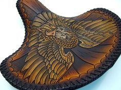 Leathersmith specializing in chop seats and saddles and custom horse tack and \ Saddle items. Motorcycle Seats, Bike Seat, Motorcycle Style, Scrambler Motorcycle, Leather Art, Custom Leather, Leather Tooling, Handmade Leather, Custom Choppers