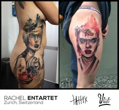 Tattoo artist Rachel EntArtet from Zurich, Switzerland, where she currently lives and works, of 24 years old has been playing with ink on people's skin for 3 years. Her style bears the influences of realism intertwined with graphical lines and watercolour design. The human canvas unfolds under her needle, revealing out-of-the skin surrealistic ink tales. For contact: https://www.facebook.com/RachelHardcase