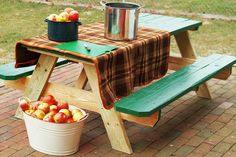 picnic table w/ painted top and benches