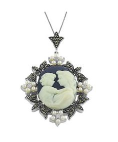 @Overstock - Lovely cameo pendant is highlighted by white freshwater pearls, cubic zirconia and  marcasiteJewelry is crafted of sterling silverWith a box chain, necklace is ideal for dressing up your everyday wardrobehttp://www.overstock.com/Jewelry-Watches/Sterling-Silver-Cameo-Necklace-of-mother-and-child/3003658/product.html?CID=214117 $51.99