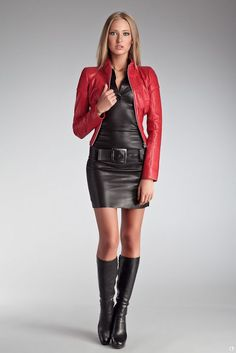 I've never been a fan of leather skirts or dresses, but this outfit doesn't look distasteful or tacky in my opinion especially considering she is dressed in full leather head to to. I love the red jacket and the boots . And of course would love to see the dress swapped out with a sweater and a pair of skinny 5 pocket leather pants...ummmmmm now that would be just about perfect.