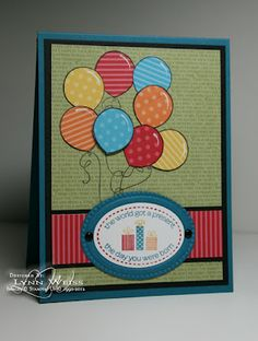 Birthday card, good for trying out that new 3 dimensional glitter mod podge on the balloons!