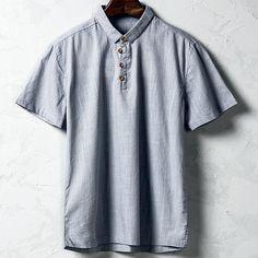 Sale 19% (21.15$) - Men Cotton Linen National Style Retro Solid Color Casual T-shirt