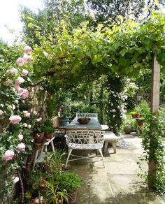 City Gardening zinc-table-rose-arbor--daisy-garnett-garden-london-gardenista - When the writer Daisy Garnett and her husband, Nick Pearson, bought their Georgian house in Brixton, south London, in 2007 the garden initially looked like