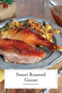 Sweet Roast Goose (Easy Instructions on How to Cook Goose) Easy Steps for How to Cook a Goose - Sweet Roasted Goose is a tried and true recipe for a succulent goose with crispy skin and tender meat seasoned with apple, orange and potato stuffing. Wild Game Recipes, Duck Recipes, Meat Recipes, Chicken Recipes, Cooking Recipes, Roast Goose Recipes, Cooked Goose, Colonial Recipe, Holiday Recipes