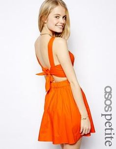 ASOS PETITE Exclusive Cotton Skater Dress With Bow Tie Back