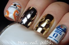 Star Wars nails (More Nail Polish) Uñas Star Wars, Star Wars Nails, Crazy Nail Art, Cute Nail Art, Colorful Nail Designs, Cute Nail Designs, London Nails, Gold Glitter Nails, Seasonal Nails