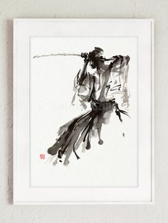 The Soul of Samurai Art, Abstract Japanese Painting, Japan Calligraphy Style Artwork, Bushido Code, Samurai Katana Sword, Home Decor Poster, Gift Idea Type of paper: Prints up to (45x30cm) 12x18 inch size are printed on 200g/m2 structured off-white Fabriano Watercolor Paper and retains