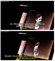 Benedict Cumberbatch on wearing pants beneath his sheet as Sherlock (A Scandal in Belgravia)
